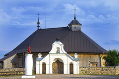 Entrada dianteira da igreja de Mary Visitation da mãe de nascimento, Rumsiskes, distrito de Kaunas, Lituânia Foto de Stock
