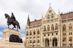 Entrada dianteira do parlamento húngaro em Budapest, Hungria Fotos de Stock