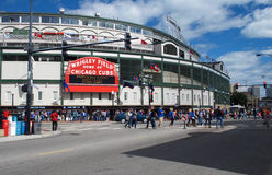 Entrada do campo de Wrigley dos Chicago Cubs Foto de Stock