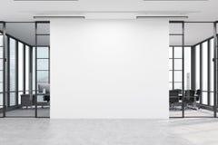 Entrada do escritório com uma grande parede branca e duas salas de reunião ilustração do vetor