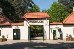 Entrada do leste do jardim zoológico de Riga imagens de stock