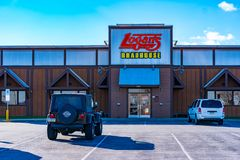 Entrada do restaurante do Roadhouse de Logan imagem de stock royalty free