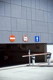 Entrada e saída da garagem de estacionamento Imagem de Stock Royalty Free