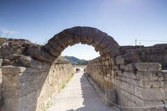 A entrada em Olympia Stadium antiga, Peloponnesus, Grécia Foto de Stock Royalty Free