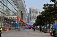 A entrada embarcou à força a construção da estação de trem Imagens de Stock
