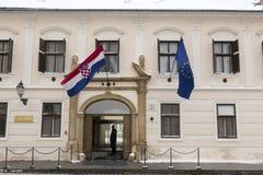 Entrada en el gobierno croata en Zagreb Fotografía de archivo libre de regalías
