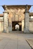 Entrada en el lado oeste de la abadía de Certosa, Pavía, Italia Imágenes de archivo libres de regalías