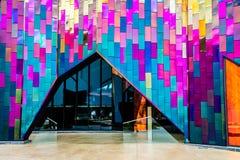 Entrada en museo moderno de la arquitectura en Kansas City