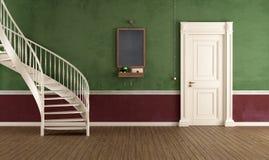 Entrada home do vintage com escadaria circular ilustração stock