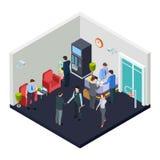 Entrada isométrica do escritório do vetor com segurança Os executivos reunem-se na entrada ilustração stock