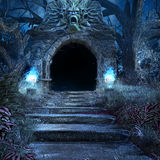 Entrada a la cripta asustadiza Foto de archivo libre de regalías