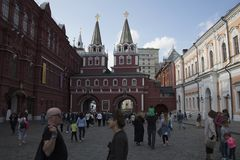 Entrada a la Plaza Roja, Moscú, Rusia fotografía de archivo libre de regalías
