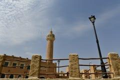A entrada na área de resort de montanha de Al Qarah, na terra da civilização fotografia de stock royalty free