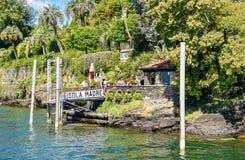Entrada na ilha uma de Madre das ilhas de Borromean do lago Maggiore em Itália norte Fotos de Stock Royalty Free