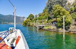 Entrada na ilha uma de Madre das ilhas de Borromean do lago Maggiore em Itália norte Fotografia de Stock Royalty Free