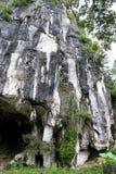 Entrada natural bonita da caverna da pedra calcária em Malásia Monte e caverna da pedra calcária Monte arredondado coberto e dram fotografia de stock royalty free
