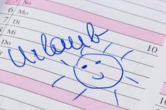 Entrada no calendário: feriados Imagens de Stock