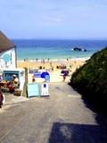 Entrada, playa de Portgwidden, St Ives. Imágenes de archivo libres de regalías