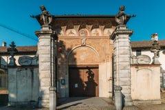 Entrada principal al monasterio de Pavía de los di de Certosa, construido por Carthusians en 1396-1495 Renowned para la exuberanc imágenes de archivo libres de regalías