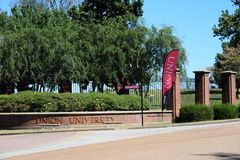 Entrada principal del campus de la universidad de la unión en Jackson, Tennessee fotos de archivo