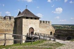 Entrada principal del castillo de Hotin Fotografía de archivo