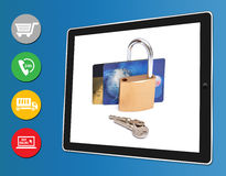 Entrada segura do pagamento da compra em linha Foto de Stock Royalty Free