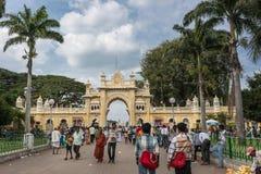 Entrada sul do domínio do palácio de Mysore, Índia Imagens de Stock
