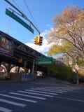 Entrada superior da estrada da ponte de Ed Koch Queensboro, 59th ponte da rua, Queens, NYC, EUA Fotos de Stock