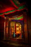 Entrada a un chaple en el monasterio Shigaste Tíbet de Tashilompu Fotografía de archivo