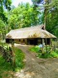 Entrada a una casa cubierta con paja, a una cerca y a árboles verdes fotos de archivo