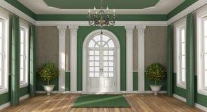 Entrada verde e marrom da casa de uma casa de campo luxuosa ilustração stock