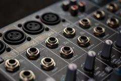 Entradas audios profesionales análogas del escritorio de los sonidos fotos de archivo libres de regalías