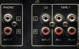 Entradas em um amplificador velho Imagem de Stock Royalty Free