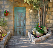 Entrance 4. Artist's village.Decorated home entrance Royalty Free Stock Image