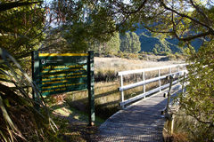 Entrance of Abel Tasman Coast Track with sunlight. Entrance of Abel Tasman Coast Track Royalty Free Stock Images