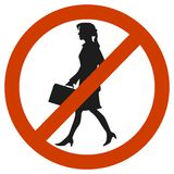 Entrance and access is denied to woomen. sign stock illustration