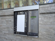 Entrance access keypad. And intercom to apartment building stock photo