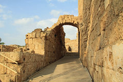 Entrance of the Amphitheater in Caesarea Maritima National Park Royalty Free Stock Photography
