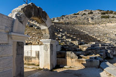 Entrance of Ancient amphitheater in the archeological area of Philippi, Greece Royalty Free Stock Photo