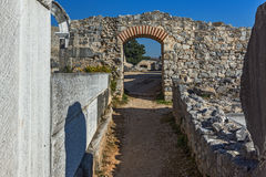 Entrance of Ancient amphitheater in the archeological area of Philippi, Greece Stock Photography