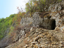 Entrance of an ancient mine of antimony in West Serbia. Landscape of entrance of an ancient mine of antimony in mountains of West Serbia and preparations for the Stock Image