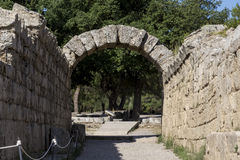 The entrance in ancient Olympia Stadium, Peloponnes, Greece Stock Photo