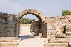 Entrance on ancient stadium in Olympia Stock Photo