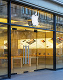 Entrance of the Apple store on the Bahnhofstrasse street Stock Photography