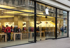 Entrance of the Apple store on the Bahnhofstrasse street Royalty Free Stock Image