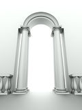 Entrance with arc, columns and balustrade Stock Photos
