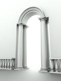Entrance with arc, columns and balustrade Stock Photos