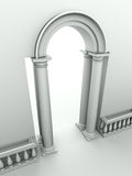 Entrance with arc, columns and balustrade Royalty Free Stock Image