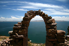 Entrance arc to Taquile Island, Peru. Entrance arc to Taquile Island, in the Titicaca lake, Peru Royalty Free Stock Image