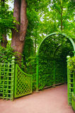 Entrance arch from the leaves. And plants Royalty Free Stock Image
